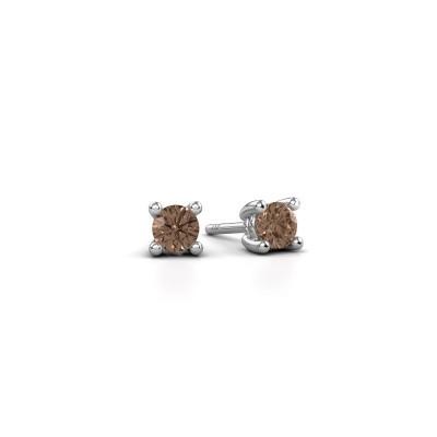 Foto van Oorstekers Sam 950 platina bruine diamant 0.25 crt