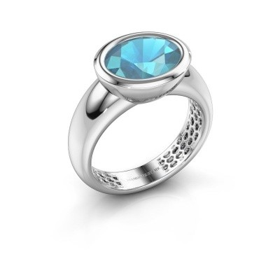 Ring Evelyne 585 witgoud blauw topaas 10x8 mm