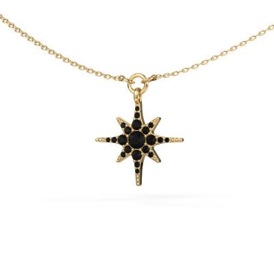 Halsketting Star 585 goud zwarte diamant 0.348 crt