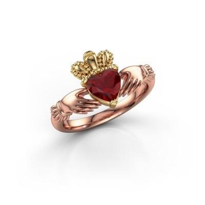 Foto van Ring Claddagh 2 585 rosé goud robijn 6 mm