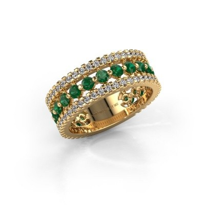 Engagement ring Elizbeth 2 375 gold emerald 2.4 mm