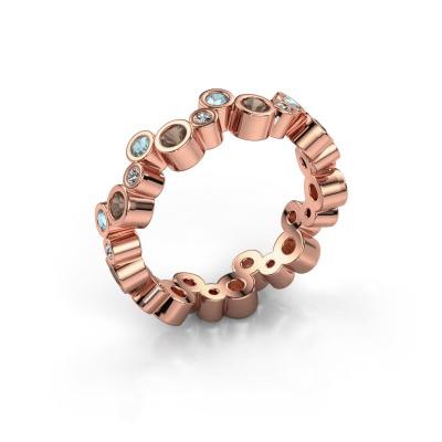 Ring Tessa 585 rosé goud rookkwarts 2.5 mm