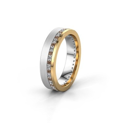 Trouwring WH0303L15BPM 585 witgoud bruine diamant 0.44 crt ±5x2 mm