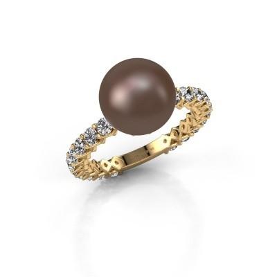 Foto van Ring Nele 375 goud bruine parel 9 mm