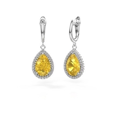 Drop earrings Hana 1 950 platinum yellow sapphire 12x8 mm