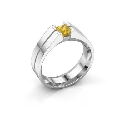 Foto van Heren ring Stefan 375 witgoud gele saffier 4.5 mm
