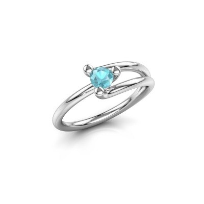 Engagement ring Roosmarijn 585 white gold blue topaz 4 mm
