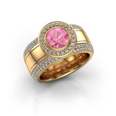 Foto van Ring Roxie 585 goud roze saffier 6.5 mm