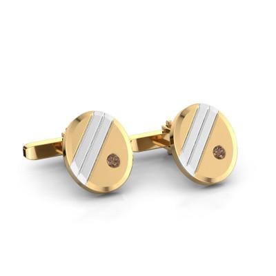 Foto van Manchetknopen Wesley 585 goud bruine diamant 0.16 crt