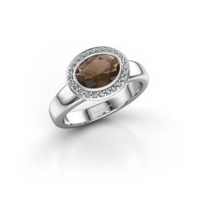 Foto van Ring Salena 925 zilver rookkwarts 8x6 mm