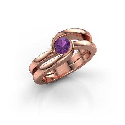 Picture of Ring Xenia 1 375 rose gold amethyst 5 mm