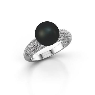 Foto van Ring Anisa 950 platina zwarte parel 9 mm