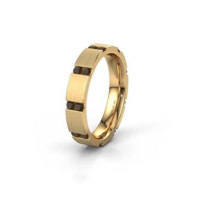 Huwelijksring WH2132L14BM 375 goud rookkwarts ±4x2.2 mm