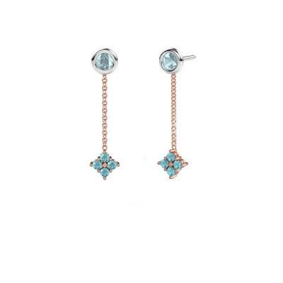 Drop earrings Ardith 585 rose gold blue topaz 2 mm