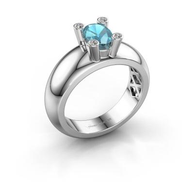 Ring Cornelia Oval 585 white gold blue topaz 7x5 mm