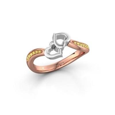 Ring Xaviera 585 rosé goud gele saffier 1.5 mm