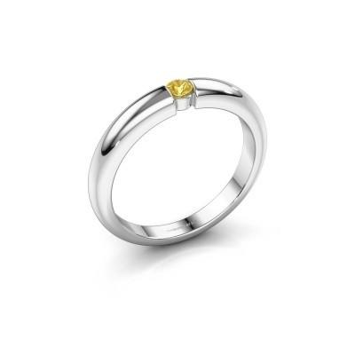 Foto van Verlovingsring Amelia 585 witgoud gele saffier 3 mm