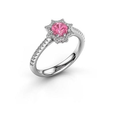 Aanzoeksring Zena 585 witgoud roze saffier 5 mm