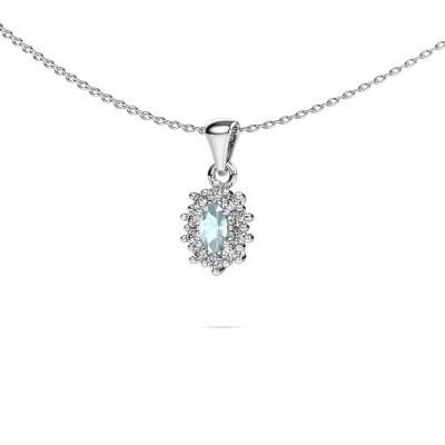 Picture of Necklace Leesa 950 platinum aquamarine 6x4 mm