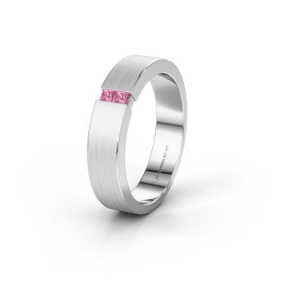 Wedding ring WH2136M15E 950 platinum pink sapphire ±5x2.4 mm