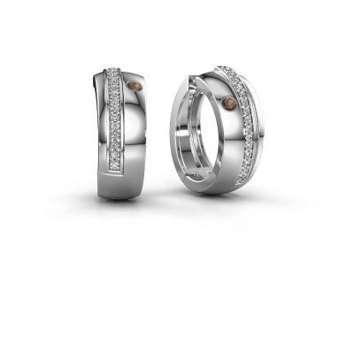 Creolen Shakita 925 zilver rookkwarts 2 mm