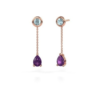Picture of Drop earrings Laurie 3 375 rose gold amethyst 7x5 mm