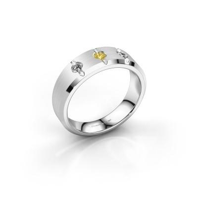 Foto van Heren ring Remco 375 witgoud gele saffier 2.7 mm