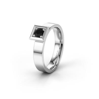 Trouwring WH2112L14A 925 zilver zwarte diamant ±4x1.7 mm