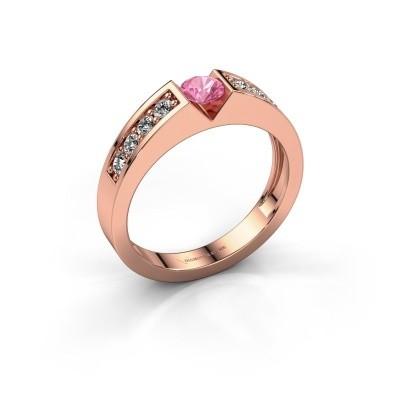 Foto van Verlovingsring Lizzy 2 375 rosé goud roze saffier 4.2 mm
