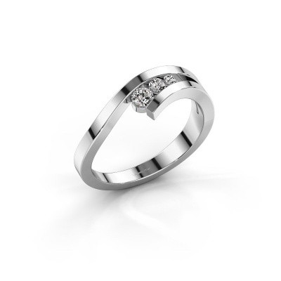 Photo de Bague Evalyn 2 585 or blanc diamant synthétique 0.16 crt