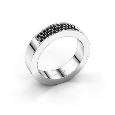 Ring Lindsey 1 585 witgoud zwarte diamant 0.28 crt