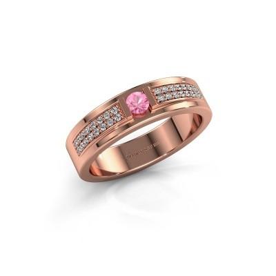 Ring Chanell 375 rosé goud roze saffier 3 mm