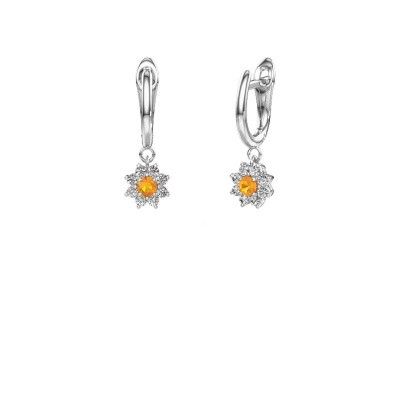 Drop earrings Camille 1 585 white gold citrin 3 mm
