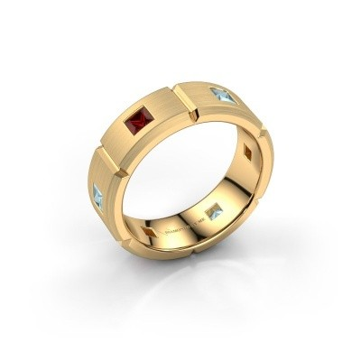 Foto van Heren ring Steve 585 goud granaat 3 mm