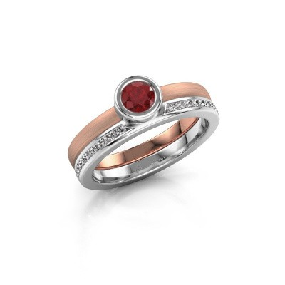 Foto van Ring Cara 585 rosé goud robijn 4 mm
