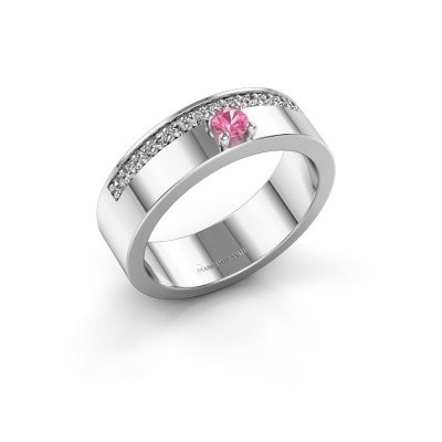 Ring Vicki 585 witgoud roze saffier 3 mm