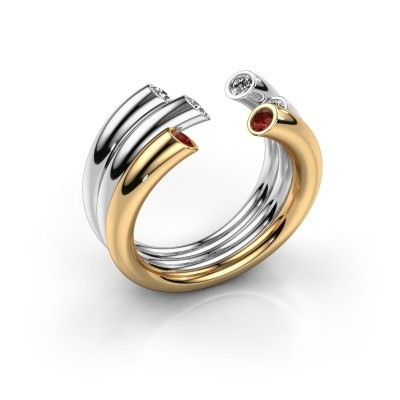 Ring Noelle 585 gold garnet 2.4 mm