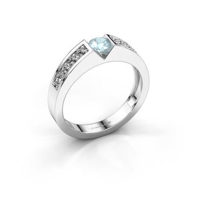 Engagement ring Lizzy 2 950 platinum aquamarine 4.2 mm