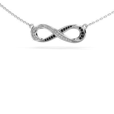 Collier Infinity 2 925 zilver zwarte diamant 0.134 crt