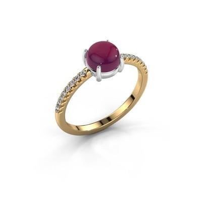 Ring Cathie 585 goud rhodoliet 6 mm