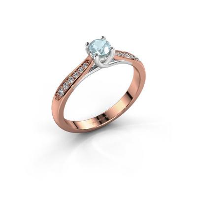 Picture of Engagement ring Mia 2 585 rose gold aquamarine 4.2 mm