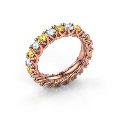 Ring Fenna 585 rosé goud gele saffier 3 mm