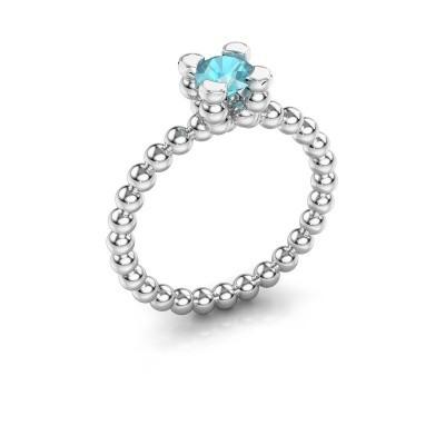 Foto van Ring Aurore 585 witgoud blauw topaas 5 mm