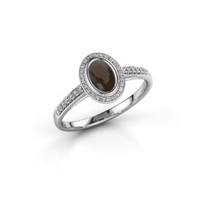 Engagement ring Noud 2 OVL 585 white gold smokey quartz 6x4 mm