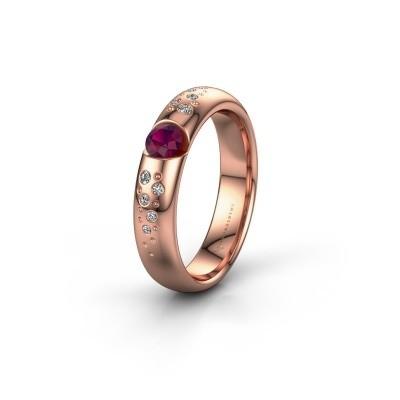 Trouwring WH2104L34A 375 rosé goud rhodoliet ±4x1.7 mm