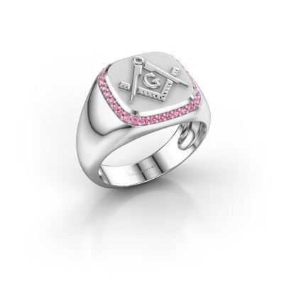 Foto van Heren ring Johan 375 witgoud roze saffier 1.2 mm