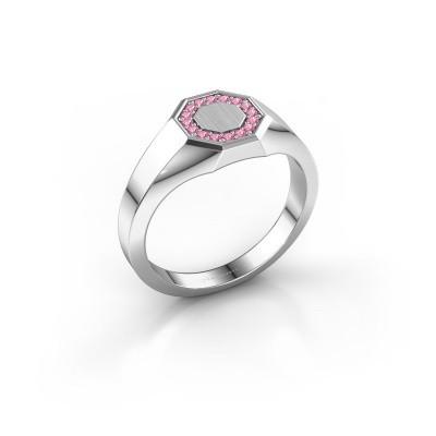 Pinkring Floris Octa 1 950 platina roze saffier 1.2 mm