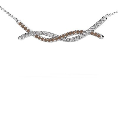 Collier barre Breanne 585 or blanc diamant brun 0.338 crt