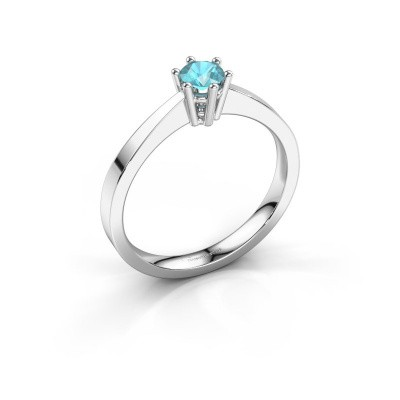 Engagement ring Noortje 585 white gold blue topaz 4 mm