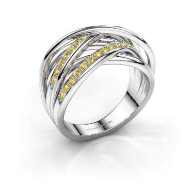 Foto van Ring Fem 2 585 witgoud gele saffier 1.5 mm